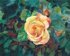 "Yellow roses, Original artwork gouache/watercolor painting on paper, 8×10"""