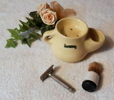 Vintage Shaving Trio GILLETTE Razor Brush and Yellow Pot