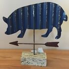 Primitive Country tin PIG weather vane Figure on Wooden Base 9