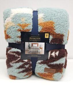 NEW Pendleton Sherpa Twin Blanket Soft Fleece Bed Throw Aztec Tribal Cozy Teal