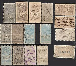Lot 16 timbres fiscaux quittances reçus et décharges 1896 à 1906 à étudier
