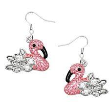Pink Flamingo Fashionable Earrings - Enamel - Fish Hook - Sparkling Crystal