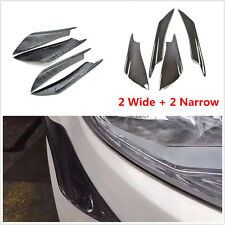 4in1(2Wide+2Nrrrow) Autos Real Carbon Fiber Bumper Splitter Fins Canards Valance