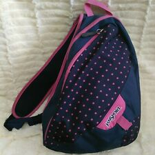 JanSport Sling Style Crossbody Bag Backpack Shoulder Bag Blue Pink Polka Dot
