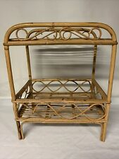Vintage Boho Chic Bent Bamboo Rattan MCM Side Table Tropical Tiki With Shelf