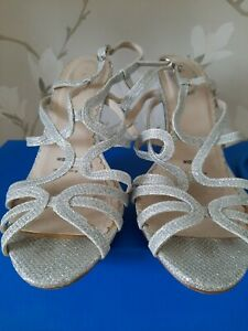 SILVER GLITTER WEDDING, PARTY SHOES, DEBUT, SIZE 5 WIDE FIT