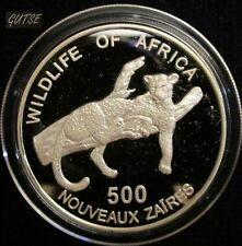 ZAIRE, 500 NEW ZAIRES 1996, LEOPARD ON BRANCH, SILVER, PROOF, SCARCE.