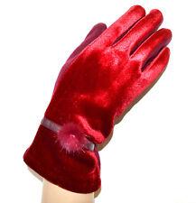 GANTS ROUGE femme velours élégant hiver pon pon poignet handskar handschoenen G3