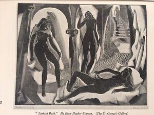 1930s Woodcut Print Turkish Bath by Blair Hughes-Stanton
