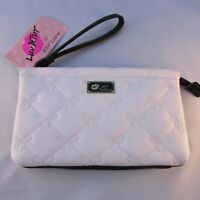 Betsey Johnson Double Pouch Wristle Clutch White Quilted Bow Pattern