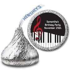 Musical Note Piano - Personalized Hershey Kiss Birthday Party Sticker Labels