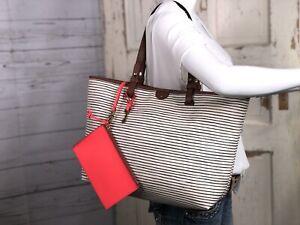 FOSSIL RACHEL White / Black Leather Shopper Tote Shoulder Handbag Carryall Purse
