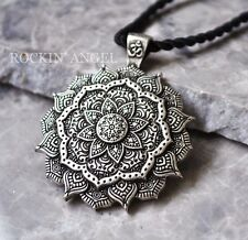 Antique Silver Plt 3D Tibetan Healing Mandala Pendant Necklace Buddha Buddhism