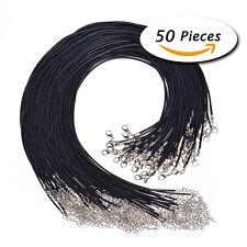Wholesale Bulk lot 50pcs Black Waxed PU Leather String 50CM Necklace Cords US