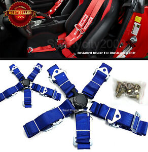 2 x 5-Point Cam Lock Quick Release Blue Nylon Harness Seat Belt For Subaru Mazda