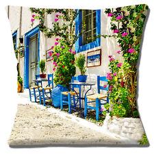 "Quaint Greek Village Street Cushion Cover 16""x16"" 40cm Scene Table Chairs Plants"