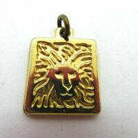 Lion Head Pendant Charm Gold Tone