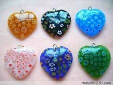 12pcsMulticolor Beautiful Bead Heart Millefiori Flower Lampwork Glass Beads 25mm