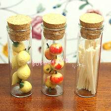 Dollhouse Miniature Toy Food 3 Glass Bottles Of Fruits And Noodles H4.5cm SPO065
