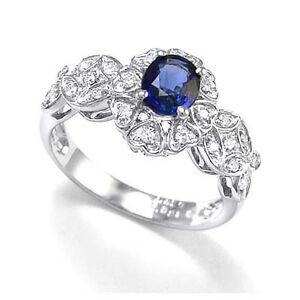 950 Platinum Ceylon Sapphire Ring With Fine Round Diamonds Sizes4 to 9.5 #R1498