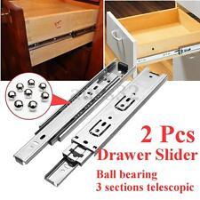 """2Pcs 8"""" Long 3 Sections Ball Bearing Slide Rail Cabinet Drawer Runners Slider"""
