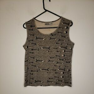 Chico's Design Women's Blouse Top Size 1 or Medium Brown Tan Fishes Tank Top