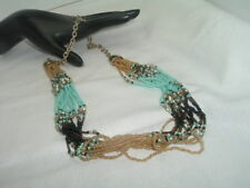 VINTAGE SOUTHWEST TURQUOISE CRYSTAL 12 STRAND NECKLACE
