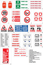 Small Boat Safety Vinyl Stickers - 116mm x 75mm - (fuel electrics gas emergency)