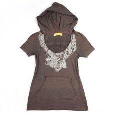 Free People Hooded Top Size SMALL Brown White Print Short Sleeve Womens Top S