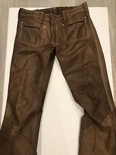 Vintage 1970 Lee Jeans Brown Suede Leather Reversible Pants Unisex 34 waist