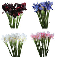 Artificial Silk Flowers iris Real Touch Fake Wedding Bouquet Home Vase NEW