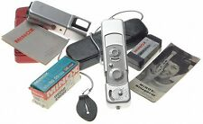 Minox B spy camera case chain film flash manuals James Bond type clean condition