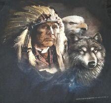 3D Emblem T-Shirt 1993 USA Indian Chief Eagle Wolf Mens Large Black