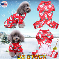 US Pet Dog Snowman Pajamas Cat Jumpsuits Soft Puppy Christmas Clothes Costumes