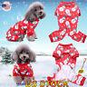 US Pet Dog Snowman Pajamas Cat Jumpsuits Soft Puppy Christmas Clothes Costumes