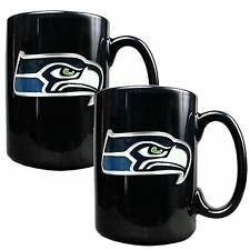 Seattle Seahawks Logo Coffee 2 Mugs Ceramic NFL Officially Licensed Black 15 oz