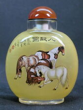 Big Chinese Eight Horse Inside Hand Painted Glass Snuff Bottle:Gift Box