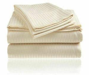 Beige Striped Split Corner Bedskirt Choose Drop Length US Size 800 Count