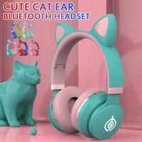 Kids Girls Bluetooth Wireless Cat Rabbit Ear Headsets LED Lights Headphones New