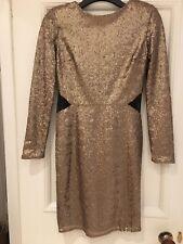 River Island Gold Sequin Open Back Midi Dress size 10