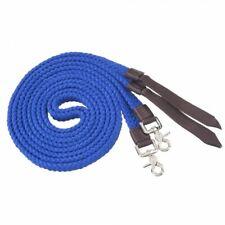 Tough-1 Blue Pro Cotton Flat Braided Split Reins w/ Nylon Poppers Horse Tack