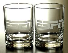 New listing 2 Brand New Embossed Logo Espn Sports Channel Network Whiskey Rock Glasses. Nwot