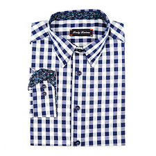 Lucky NAVY BLUE GINGHAM Slim Casual SPORT Shirt jared-lang-fit    XL