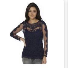 Club L Long Sleeved Luxury Crochet Top BNWT Navy Size 10