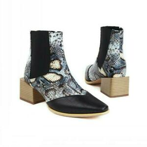 Women's Square Toe Cuban Heel Chelsea Snakeskin Print Casual Ankle Boots 44-48