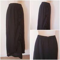 True Vintage 70s Long Wool Black Ruffled Effect Goth Boho Maxi Skirt 10 Lined