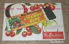 Australian MacRobertsons CHERRY RIPE TIN SIGN vintage chocolate bar RETRO deli