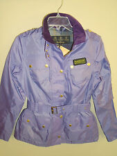 Barbour International Rainbow Belted  Moto Style Jacket NWT size 6 $299 Lavender