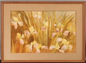 ELIZABETH HUNT BARRETT American Impressionist IRIS Flowers Gouache Painting NR