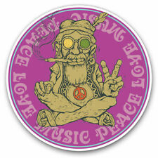 2 x Vinyl Stickers 10cm - Peace Love Music Marijuana Weed Cool Gift #6033